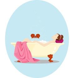 Yuong woman has a bath Retro style vector image