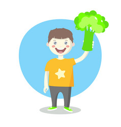 cheerful little boy with green broccoli vector image