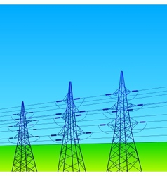 Electrical lines and pylons with blue sky vector image vector image