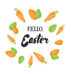 hello easter holiday greeting card with vector image vector image