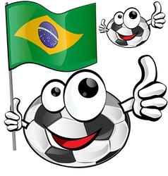 soccer ball cartoon with brazilian flag vector image vector image