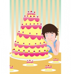 eating cake vector image vector image