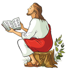 jesus reading the bible vector image