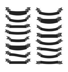 black ribbon banners set vector image vector image