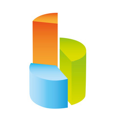 colorful silhouette with circular statistics vector image