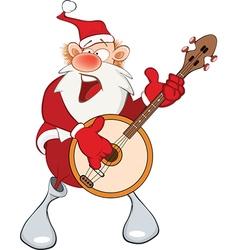 Cute Santa Claus and Banjo vector image