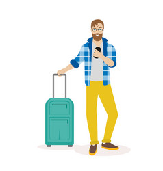 hipster traveling man standing with suitcase and vector image