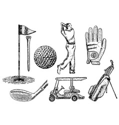 ink hand drawn golf icon set vector image vector image