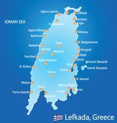 Island of Lefkada in Greece map vector image