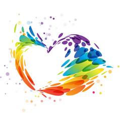 splash multicolor heart on white vector image vector image