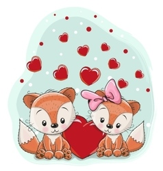 Two foxes with heart vector image vector image