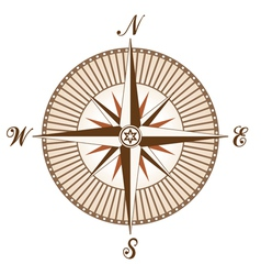 vintage brown compass vector image vector image