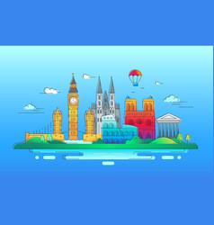 european countries - line travel vector image