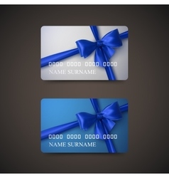 Gift Cards With Blue Bow And Ribbon vector image vector image