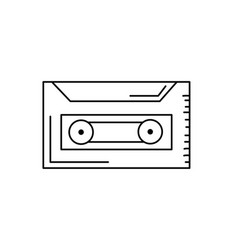 Line cassette to listen and play music vector