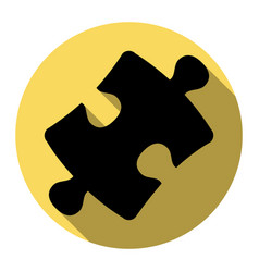 puzzle piece sign flat black icon with vector image vector image