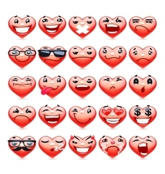 Valentine Heart Emoticons Collection vector image