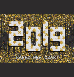 2019 jigsaw puzzle background with many golden vector image