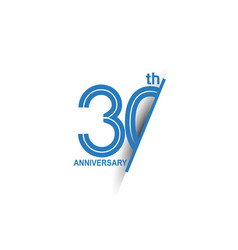 30 anniversary blue cut style isolated on white vector