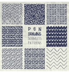 Abstract pen drawing seamless background patterns vector