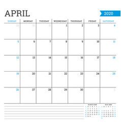 April 2020 square monthly calendar planner vector
