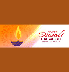 artistic diwali sale banner with diya decoration vector image