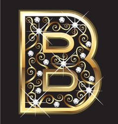 B gold letter with swirly ornaments vector image