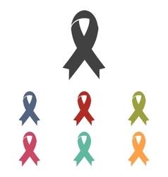 Black awareness ribbon icons set vector image