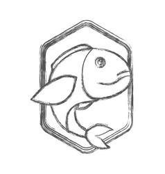 blurred sketch silhouette of diamond shape emblem vector image