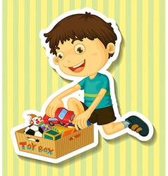 Boy putting toys in the box vector