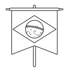 Brasilian flag hanging symbol outline vector