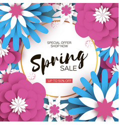 Bright origami spring sale flowers banner paper vector