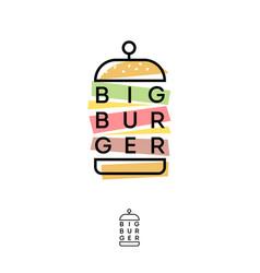 Burger hub logo fast food restaurant emblem vector