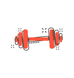 cartoon dumbbell fitness gym icon in comic style vector image