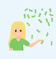 cartoon woman showing on money rain vector image
