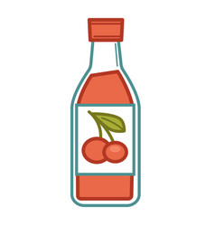 Cherry juice in bottle vector