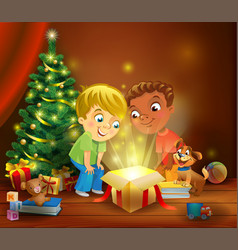 Christmas miracle - boys opening a magic gift vector