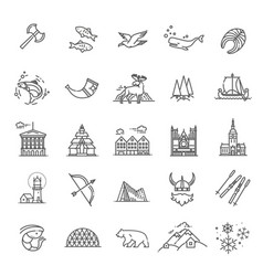 City sights icons norway landmark vector