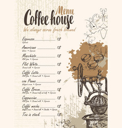 coffee menu with price list and old coffee mill vector image