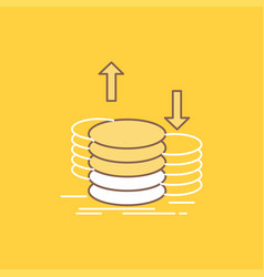 coins finance capital gold income flat line vector image