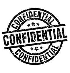 Confidential round grunge black stamp vector