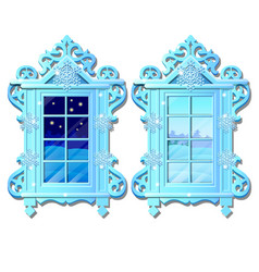 Cozy interior home window evening and morning vector