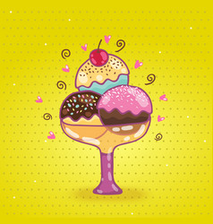Cute cartoon ice cream vector image