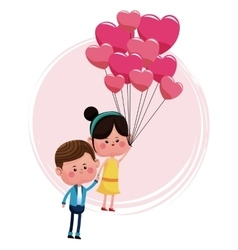 Cute couple loving with pink balloons heart shaped vector