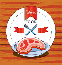 delicious and healthy meat steak vector image
