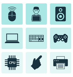 digital icons set with man with laptop speaker vector image