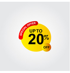 Discount up to 20 off special offer logo template vector