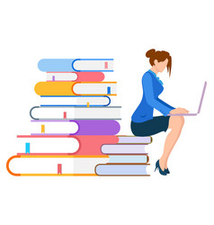 Education online books e-learning studying style vector