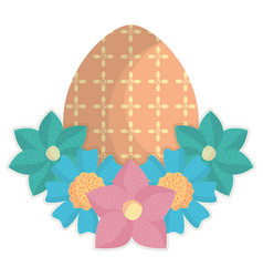 egg painted happy easter with flowers vector image