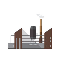 facade of factory building or boiler house with vector image